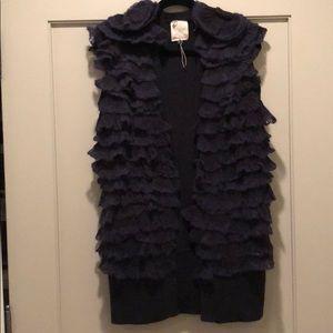 SZ M Navy Rebecca Taylor sweater vest